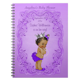 Purple Ethnic Princess Baby Shower Guest Book Notebook