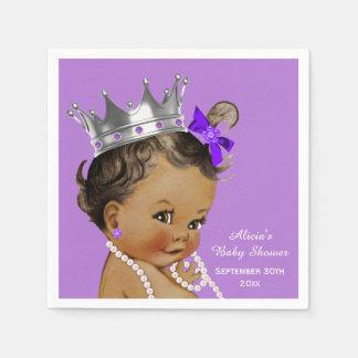 Purple Ethnic Princess Baby Shower Personalized Paper Napkin