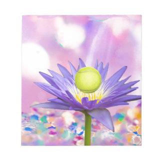 Purple exotic flower loves tennis sport notepad