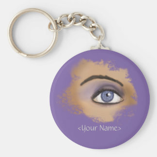 Purple Eye Makeup Basic Round Button Keychain