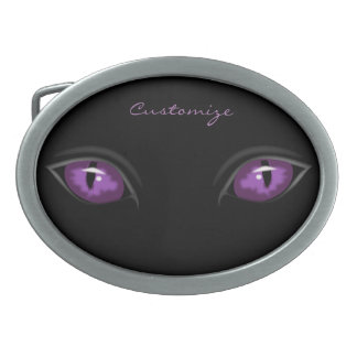 purple eyes staring Thunder_Cove Oval Belt Buckles
