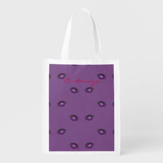 purple eyes staring Thunder_Cove Reusable Grocery Bag