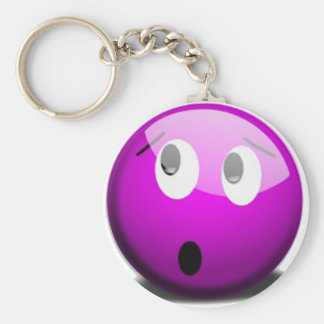 Purple faced emoticon keychain
