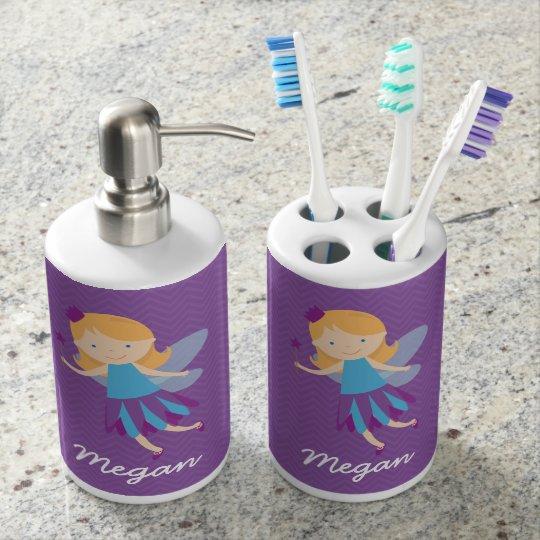 Purple Fairy on Chevrons Bathroom Set