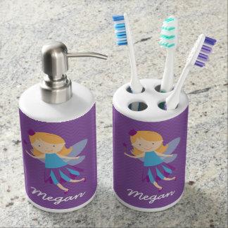 Purple Fairy on Chevrons Soap Dispenser And Toothbrush Holder