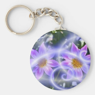 Purple Fairy Trails Dahlia On Canvas And Multiple Basic Round Button Keychain