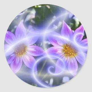 Purple Fairy Trails Dahlia On Canvas And Multiple Round Sticker