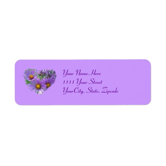 Purple Fall Asters Wildflower Label