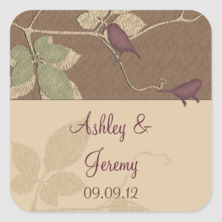 Purple Fall Birds Leaves Wedding Envelope Seal