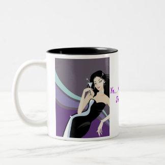 purple fancy girl with martini glass Two-Tone coffee mug