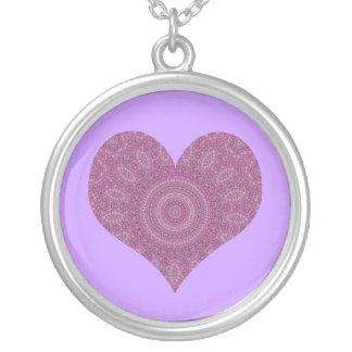 Purple fancy heart kaleidoscope necklace