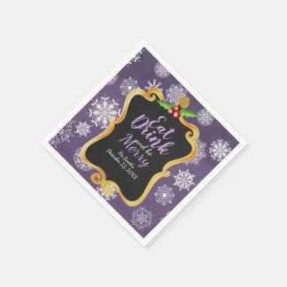 Purple fancy mistletoe snowflake napkins disposable napkins