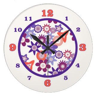 Purple Fantasy Flower Pattern Large Clock