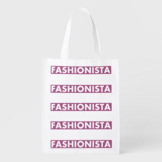 Purple Fashionista Bold Text Cutout Reusable Grocery Bag