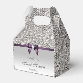 Purple Faux Bow Silver Sequins Sweet 16 Favor Box