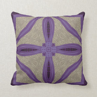 Purple Faux Embroidery Throw Pillow