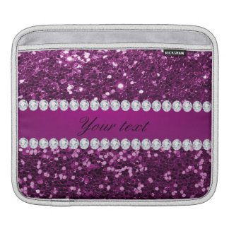 Purple Faux Glitter and Diamonds Sleeves For iPads