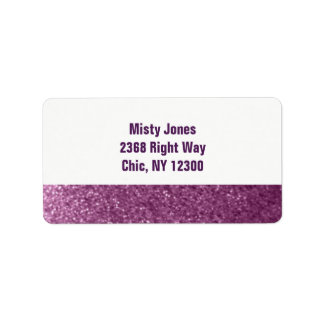 Purple Faux Glitter New Address Label