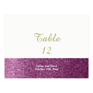 Purple Faux Glitter Table Seating Card