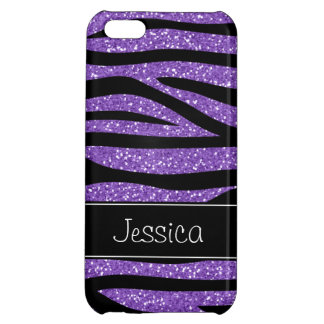 Purple Faux Glitter Zebra Personalized iPhone 5C Case