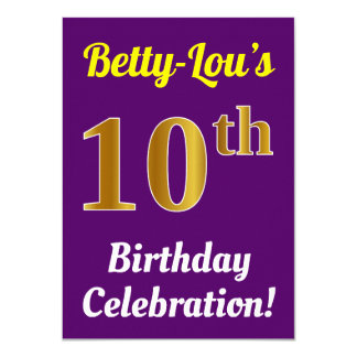 Purple, Faux Gold 10th Birthday Celebration + Name Card