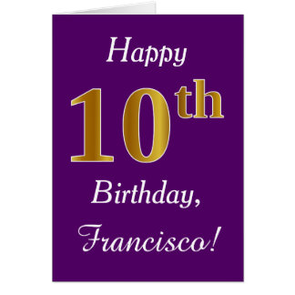 Purple, Faux Gold 10th Birthday + Custom Name Card
