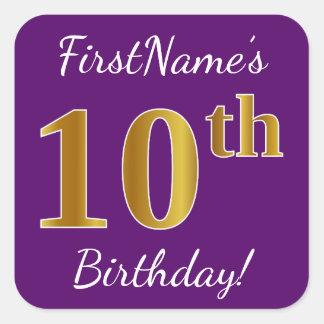 Purple, Faux Gold 10th Birthday + Custom Name Square Sticker