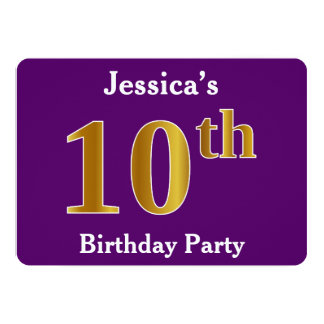 Purple, Faux Gold 10th Birthday Party; Custom Name Card