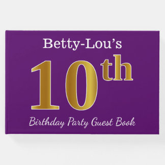 Purple, Faux Gold 10th Birthday Party; Custom Name Guest Book