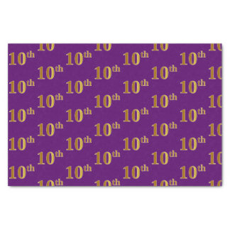 Purple, Faux Gold 10th (Tenth) Event Tissue Paper