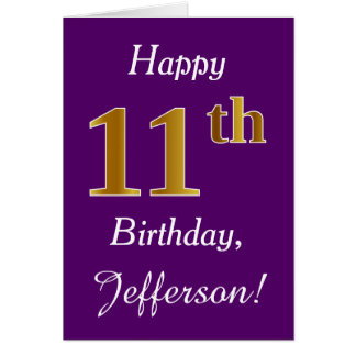 Purple, Faux Gold 11th Birthday + Custom Name Card
