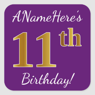 Purple, Faux Gold 11th Birthday + Custom Name Square Sticker