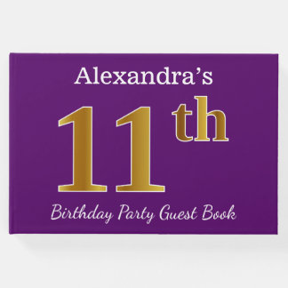 Purple, Faux Gold 11th Birthday Party; Custom Name Guest Book