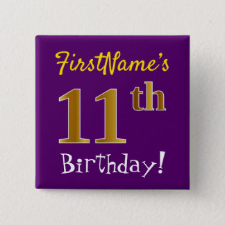 Purple, Faux Gold 11th Birthday, With Custom Name 2 Inch Square Button