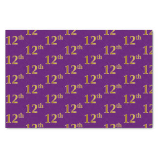 Purple, Faux Gold 12th (Twelfth) Event Tissue Paper