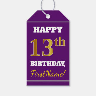 Purple, Faux Gold 13th Birthday + Custom Name Gift Tags