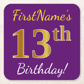 Purple, Faux Gold 13th Birthday + Custom Name Square Paper Coaster