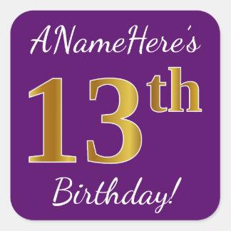 Purple, Faux Gold 13th Birthday + Custom Name Square Sticker
