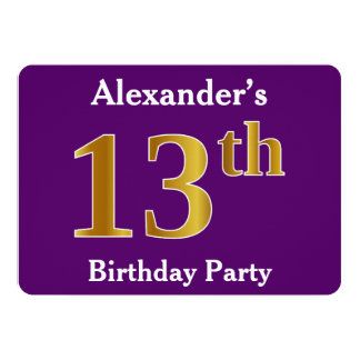 Purple, Faux Gold 13th Birthday Party; Custom Name Card