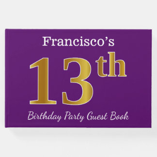 Purple, Faux Gold 13th Birthday Party; Custom Name Guest Book