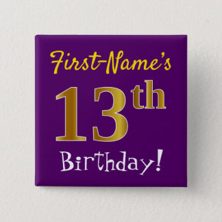 Purple, Faux Gold 13th Birthday, With Custom Name 2 Inch Square Button