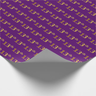 Purple, Faux Gold 13th (Thirteenth) Event Wrapping Paper