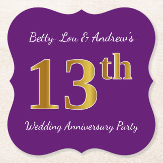 Purple, Faux Gold 13th Wedding Anniversary Party Paper Coaster