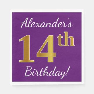 Purple, Faux Gold 14th Birthday + Custom Name Disposable Napkins