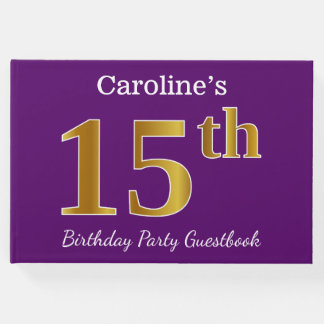 Purple, Faux Gold 15th Birthday Party; Custom Name Guest Book
