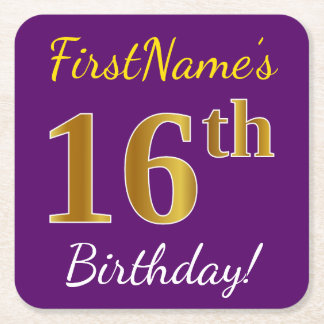 Purple, Faux Gold 16th Birthday + Custom Name Square Paper Coaster
