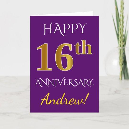 16th Wedding Anniversary.Purple Faux Gold 16th Wedding Anniversary Name Card
