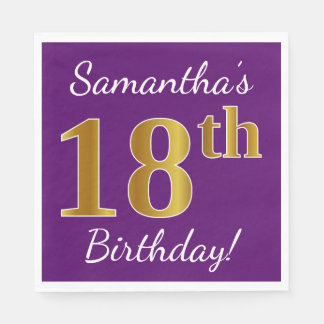 Purple, Faux Gold 18th Birthday + Custom Name Paper Napkins