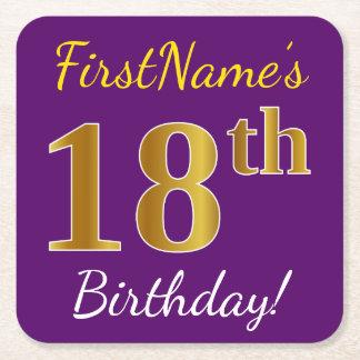 Purple, Faux Gold 18th Birthday + Custom Name Square Paper Coaster