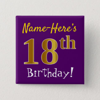 Purple, Faux Gold 18th Birthday, With Custom Name 2 Inch Square Button